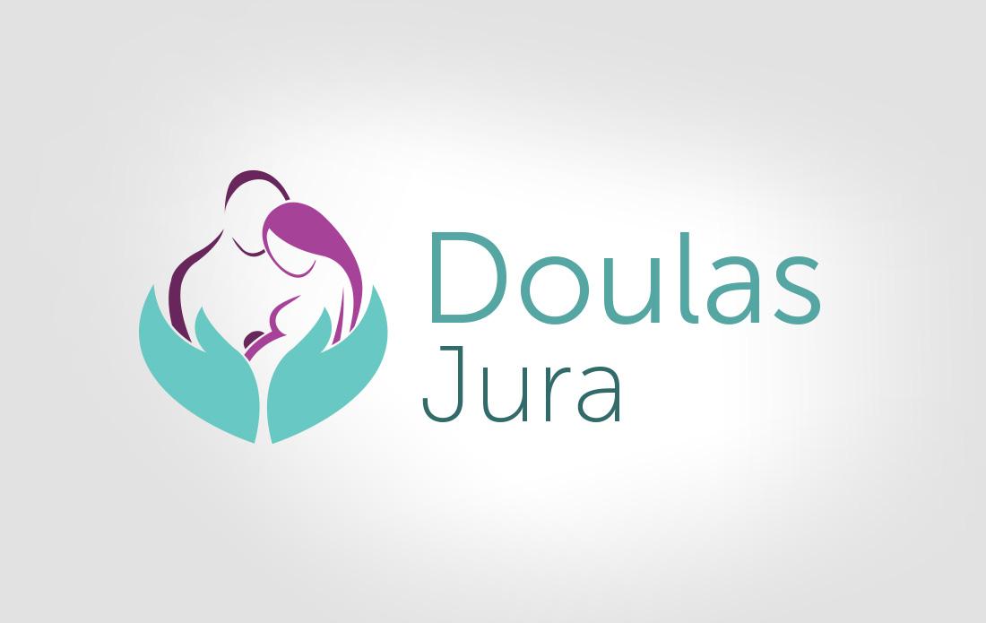 Logo Doulas Jura, turquoise-prune